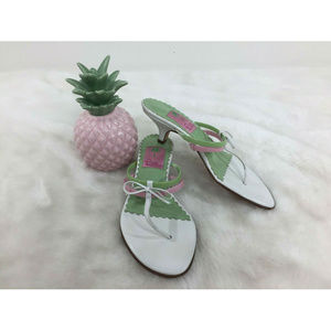 Lilly Pulitzer Bow Slip On Thong Heels Sandals 6 M